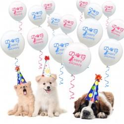 Happy Birthday ballonnen voor de hond met roze of blauwe opdruk