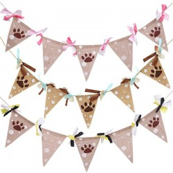 Jute honden slinger met roze, blauwe of gele strikjes
