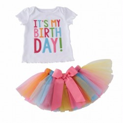 Kleurrijke set It's my Birthday met tutu en t-shirt in de maat 1, 2 of 3 jaar