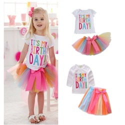 Kleurrijke set It's my Birthday met tutu en t-shirt in de maat 1, 2 of 3 jaar