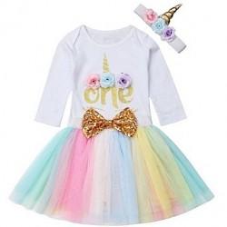 Driedelig 1e verjaardag setje Unicorn met lange mouw en tutu in regenboog kleuren