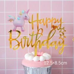 Eenhoorn Happy Birthday gold verjaardags taart topper