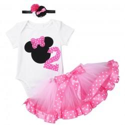 Driedelig tweede verjaardag setje Minnie Mouse roze de luxe