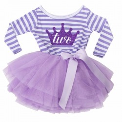 Tweedelig tweede verjaardag setje Purple and White striped