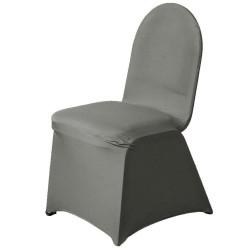 Stretch stoelhoes voor stoelen met een ronde bovenkant grijs