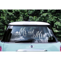 Auto decoratie stickers Mr. and Mrs wit