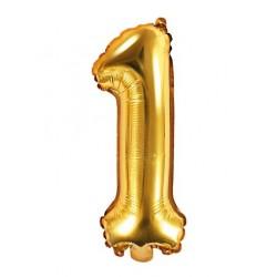 Cijfer folie ballon 1 met een hoogte van 35 of 86 cm goud