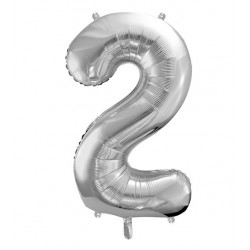 Cijfer folie ballon 2 met een hoogte van 35 of 86 cm zilver