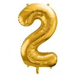 Cijfer folie ballon 2 met een hoogte van 35 of 86 cm goud