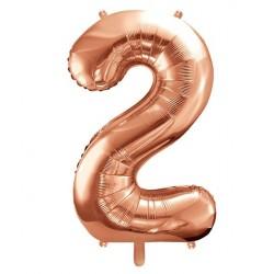 Cijfer folie ballon 2 met een hoogte van 35 of 86 cm rosé goud
