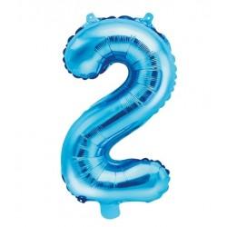 Cijfer folie ballon 2 met een hoogte van 35 cm blauw