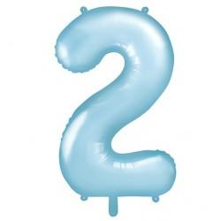 Cijfer folie ballon 2 met een hoogte van 86 cm pastel blauw