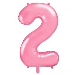 Cijfer folie ballon 2 met een hoogte van 86 cm pastel roze