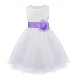 Feestelijke jurk wit met lila tailleband en bloem