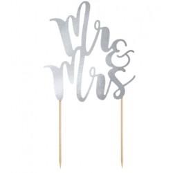 Aantrekkelijk geprijsde bruidstaart topping Mr & Mrs zilver
