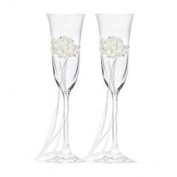 Champagne glazen set White Flowers
