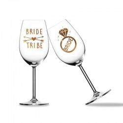 Bruidsglazen stickers Bride en Bride Tribe