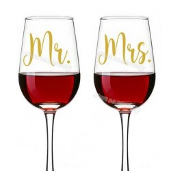 Bruidsglazen sticker set Mr & Mrs goudkleurig