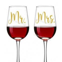 Bruidsglazen sticker set Mr & Mrs goudkleurig