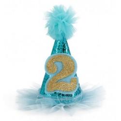Glitter puntmutsje goud met blauw voor een 2e verjaardag
