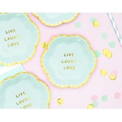Bordjes Live Love Laugh Yummy design van licht blauw met goud metallic karton
