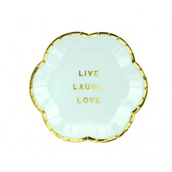 Bordjes Live Love Laugh Yummy design van licht blauw met goud metallic karton