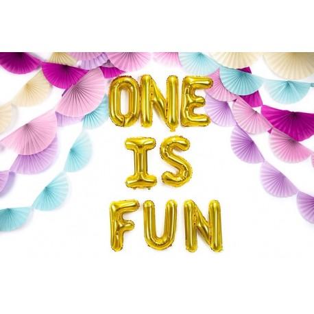 Folie ballonnen set One is Fun goud