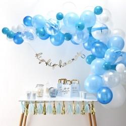 Ballonboog set blauw wit en transparant 72-delig