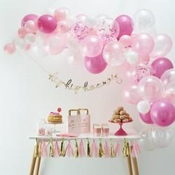 Ballonboog roze, wit en transparant
