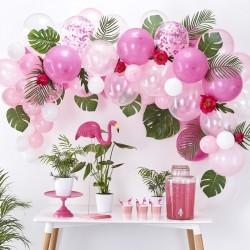 Ballonboog set roze, wit en transparant 72-delig