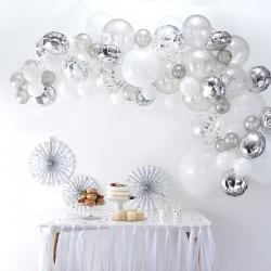 Ballonboog zilver, wit en transparant
