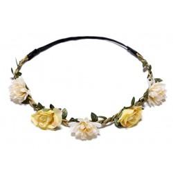 Bohemian style gevlochten haarbandje met blaadjes en gele en witte bloemetjes