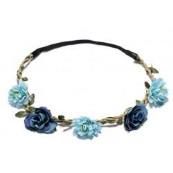 Bohemian style gevlochten haarbandje met blaadjes en licht en donker blauwe bloemetjes