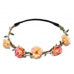 Bohemian style gevlochten haarbandje met blaadjes en licht en donker zalmkleurige bloemetjes