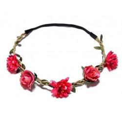 Bohemian style gevlochten haarbandje met blaadjes en rode bloemetjes