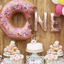 Eerste verjaardag folie ballonnen set Donut