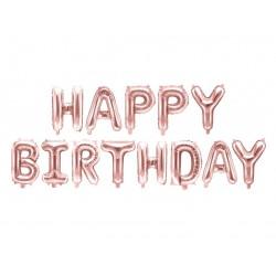 Folie ballonnen set Happy Birthday rosé goud