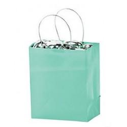 Pak met 12 mint kleurige papieren cadeautasjes met zilveren hengsel