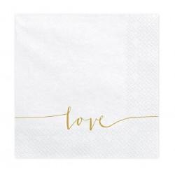 Stijlvolle witte 3-laagse servetten met goud opdruk Love