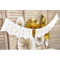 Banner Just Married wit met goud