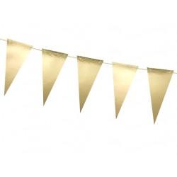 Banner goud metallic met 14 vlaggen en 3 meter goud touw