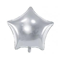 Grote stervormige folie ballonnen zilver 48 cm