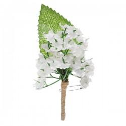 Groen met witte corsage en raffia op speld