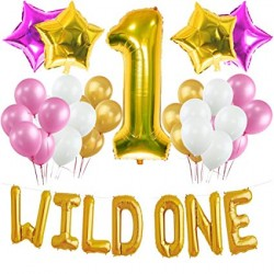 Decoratie set Wild One roze, wit en goud 42-delig
