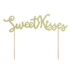 Goud glitter taarttopper Sweet Kisses