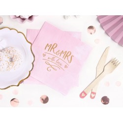 Tafel decoratie set Mr and Mrs just married roze, wit en goud