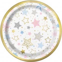 Bordjes pastel stars met een gouden randje