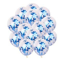 Doorzichtige ballonnen met blauwe confetti rondjes
