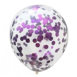Doorzichtige ballonnen met paarse confetti rondjes
