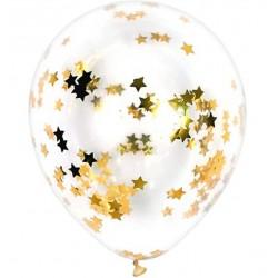 Doorzichtige ballonnen met goud metallic sterren confetti